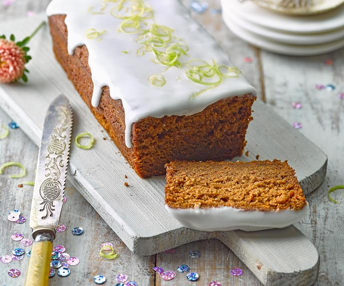 Carrot, ginger and golden syrup loaf with lime glaze