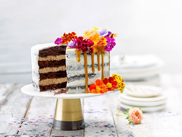 Chocolate beetroot cake with salted caramel buttercream