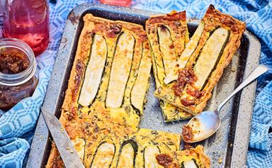 Easy courgette, cream cheese and herb picnic tart