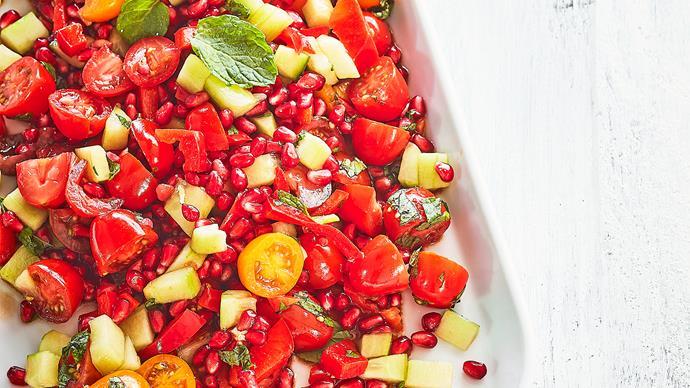 Tomato, pomegranate and mint salad