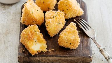 Golden fried brie cheese with quick peach chutney