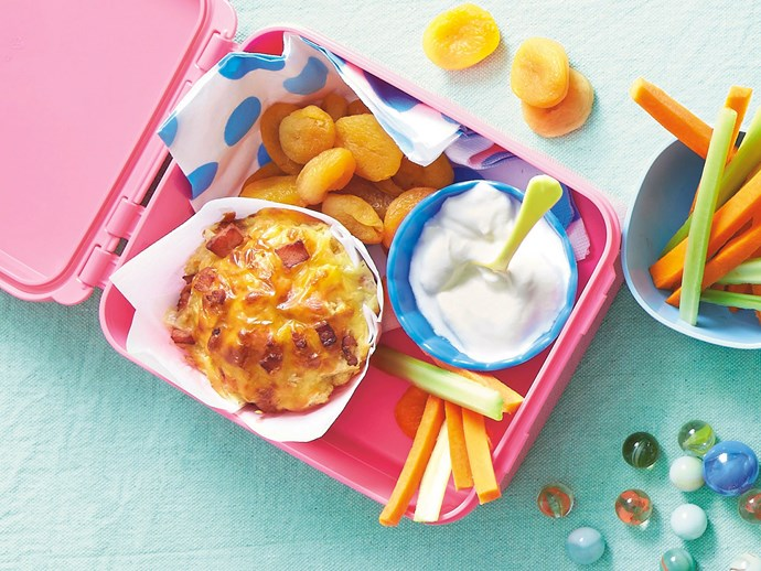 Bacon, cheese and corn wholemeal lunchbox muffins