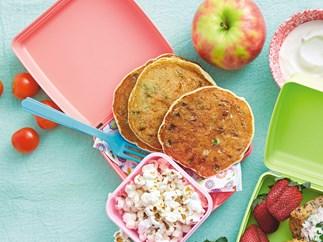 Ricotta, pea and ham lunchbox pancakes