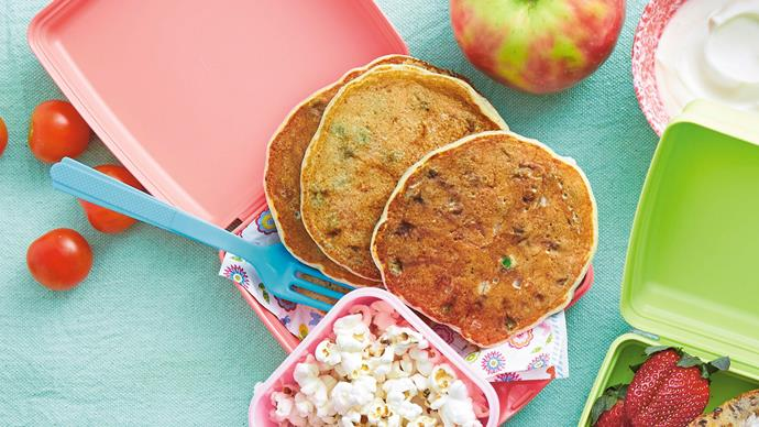 Ricotta, pea and ham lunchbox pancakes