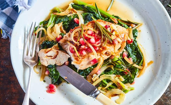 One-pot chicken with rosemary, spinach and pomegranate