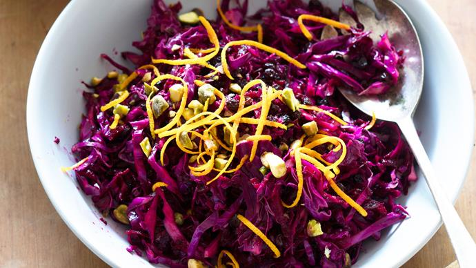 Red cabbage and beetroot salad with orange and currants