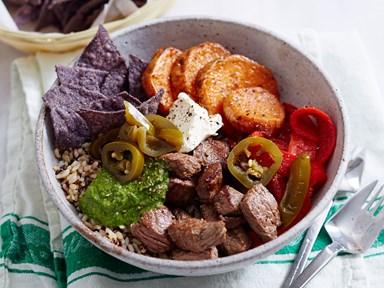Argentinian beef poke bowl with kumara and chimichurri