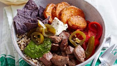 Argentinian beef poke bowl with kumara and chimichurri