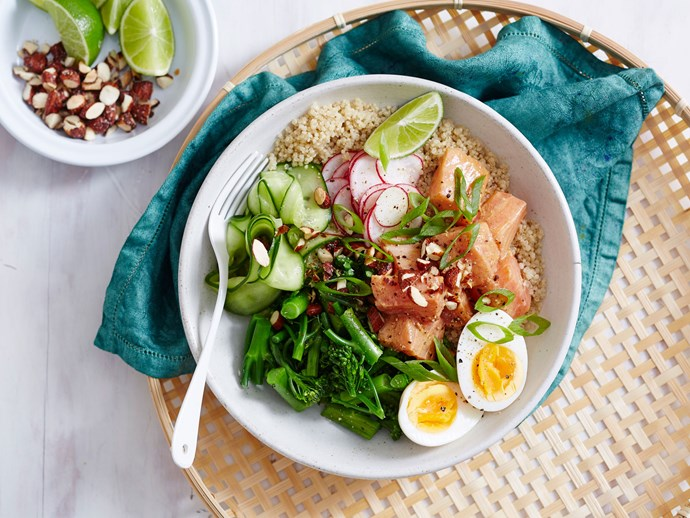 Salmon, miso and ginger poke bowl with quick pickle