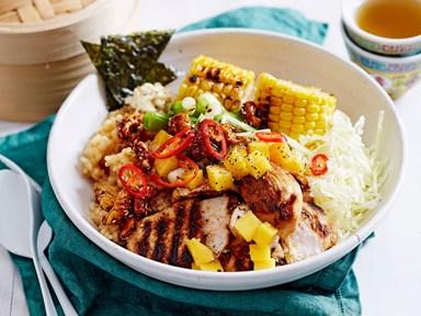 Charred chicken poke bowl with mango, corn and cashews