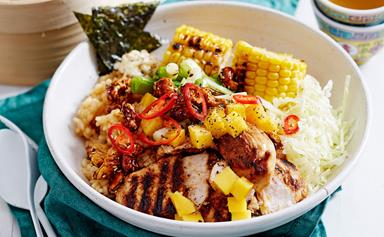 Charred chicken poke bowl with mango, corn and cashews