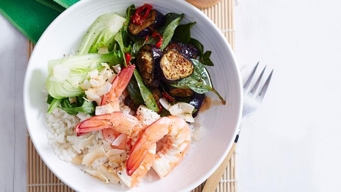 Thai coconut prawn poke bowl with chilli ginger dressing