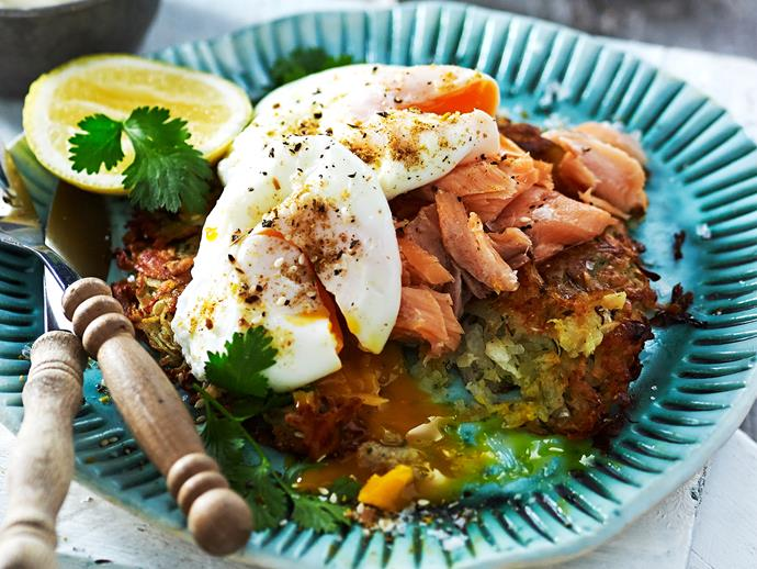 """**[Sweet potato rosti with salmon](https://www.womensweeklyfood.com.au/recipes/sweet-potato-rosti-with-salmon-2950