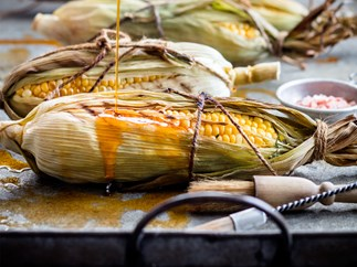 Barbecued corn with smoked paprika oil