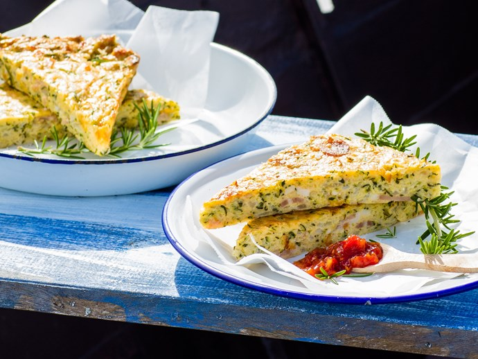Easy courgette slice with bacon and cheddar cheese