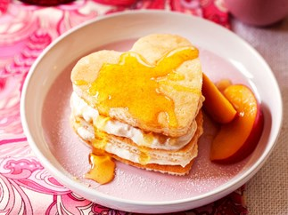 Cinnamon ricotta pikelets with nectarines
