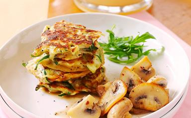 Sundried tomato and courgette fritters with mushrooms