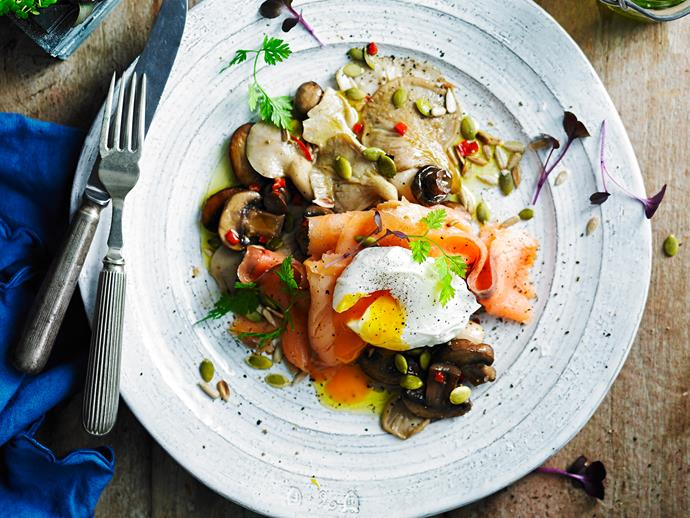 "**[Mixed mushrooms with smoked salmon and poached egg](https://www.womensweeklyfood.com.au/recipes/mixed-mushrooms-with-smoked-salmon-and-poached-egg-2952|target=""_blank"")**  Low-carb and utterly delicious, this is one breakfast dish you'll return to again and again."