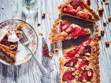 Plum, honey and hazelnut frangipane tart