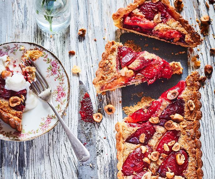 Plum, honey and hazelnut frangipane tart