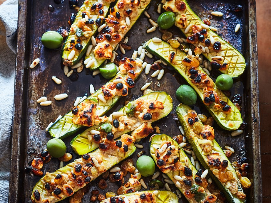 "[Grilled cheesy courgettes with pine nuts and olives](https://www.foodtolove.co.nz/recipes/grilled-cheesy-courgettes-with-pine-nuts-and-olives-8308|target=""_blank"")"