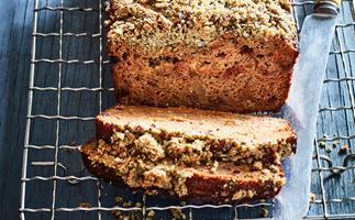 Moist carrot cake loaf with crumble topping
