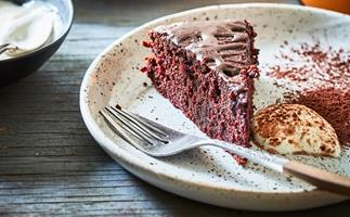 Gluten-free beetroot cake with chocolate drizzle