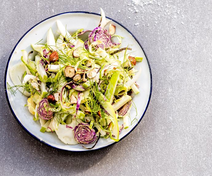 Brussels sprout slaw with apple, fennel and hazelnuts