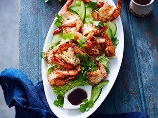 Five-spice prawn cutlets with lemon soy dressing