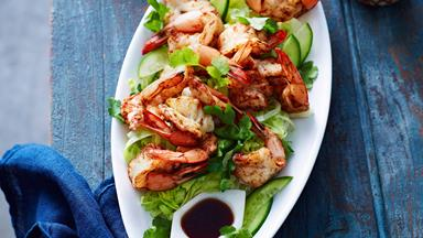 Chinese five-spice prawn cutlets with lemon soy dressing