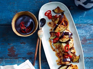 Szechuan-style chilli fried eggplant with vinegar dressing