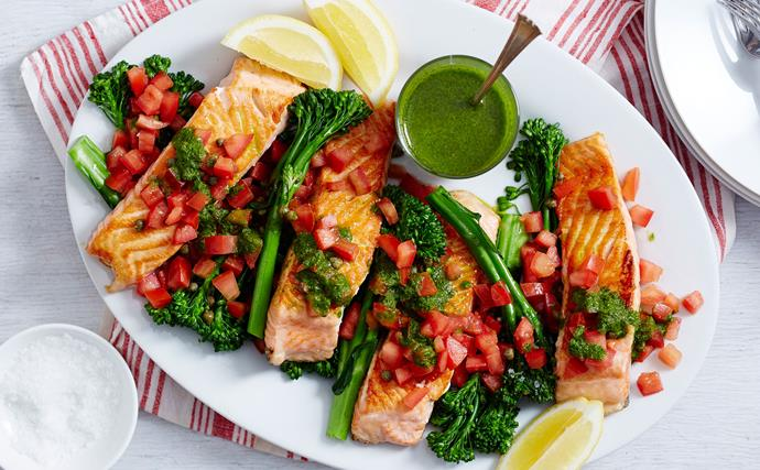 Grilled salmon with tomato, capers and herby sauce