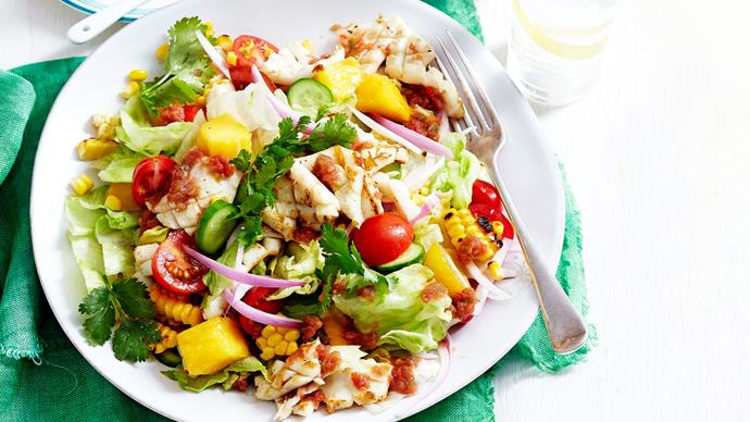 Calamari salad with bloody mary dressing