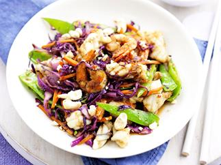 Crispy seafood, vegetable and cashew stir-fry