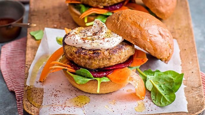 Vegetarian lentil and chickpea burgers with tahini sauce