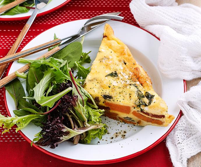 Oven-baked frittata with roasted kumara, chorizo and feta