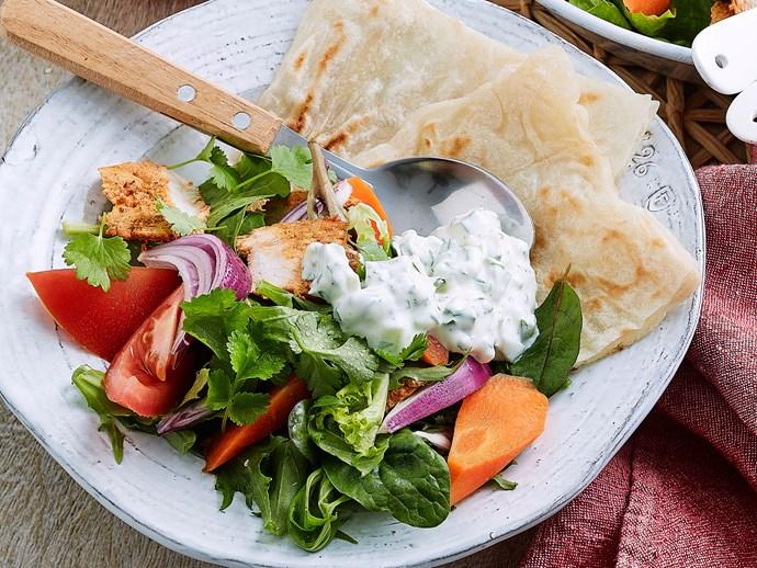 Tandoori chicken salad with yoghurt dressing