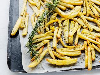 Homemade oven baked chips with rosemary seasoning