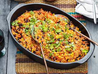 Corn, capsicum and black bean smoked paprika rice