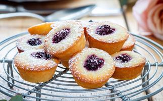 Mini gluten-free blackberry and lemon friands