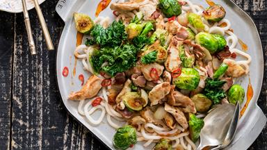 Chicken, bacon and Brussels sprout stir-fry with udon noodles