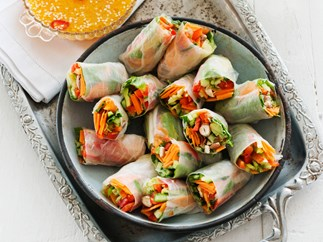 Asian vegetable rice-paper rolls with citrus chilli sauce