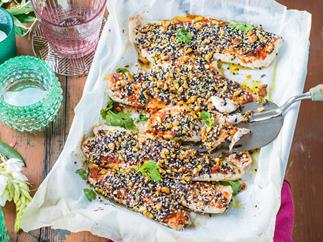 Baked fish with a sesame, pistachio and harissa crust