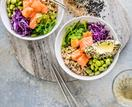 Ginger salmon poke-style bowl with spicy sesame avocado