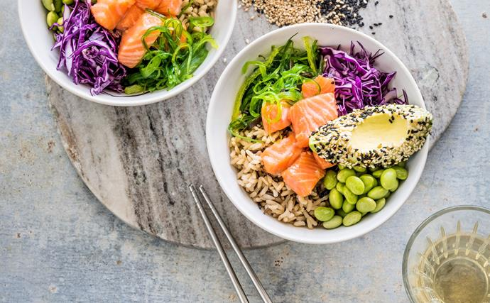 Ginger salmon poke-style bowl with sesame avocado