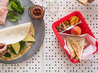 Ham, cheese and pineapple lunchbox quesadillas