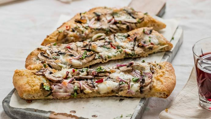 Turkish pide with mushrooms