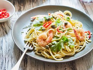Prawn pasta with garlic, chilli and capers
