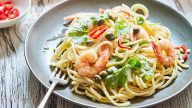 Prawn spaghetti pasta with garlic, chilli and capers