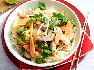 Satay pork and broccoli stir-fry with rice